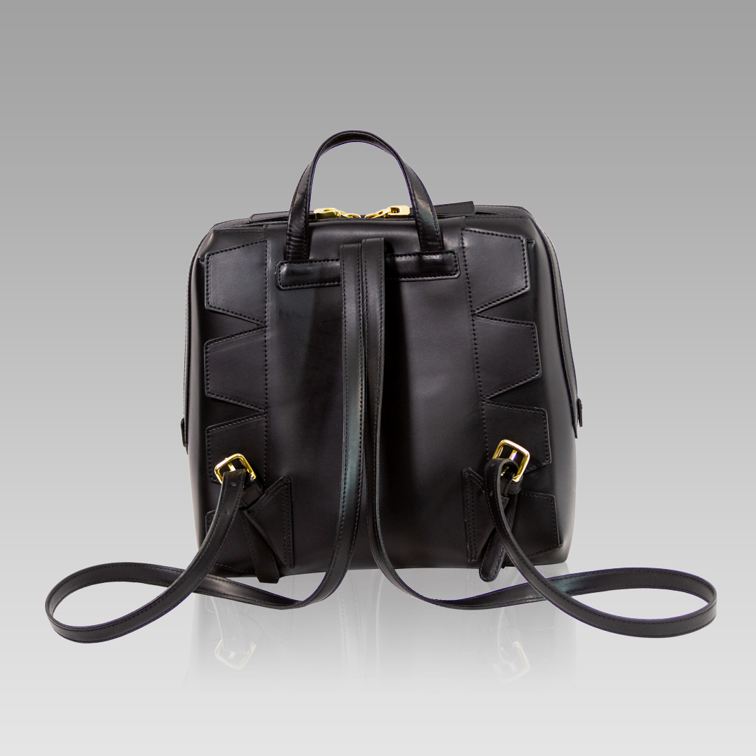 d836f4a8179 Valentino Orlandi Black Leather Studded Purse Backpack Bag LCM by ...