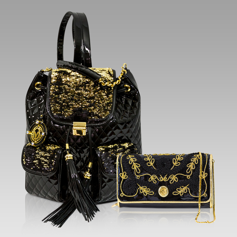 Backpack Purse Handbag Black Quilted Leather Gold