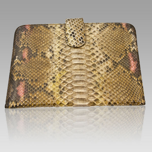 Ghibli  Amber Brown Python Leather Ipad Case Pouch