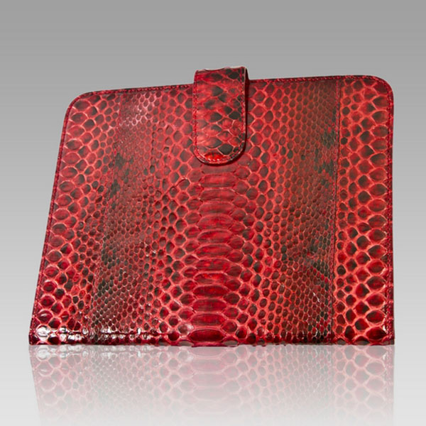 Ghibli  Rubino Red Python Leather Ipad Case Pouch
