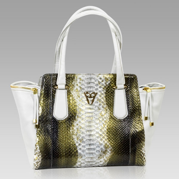 Ghibli  Golden Beryl Python Leather Large Flared Tote