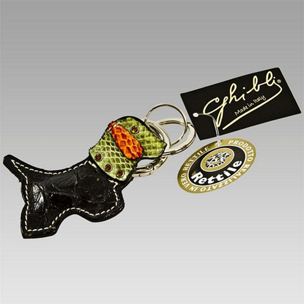 Ghibli  Black Python Leather Dog Swarovski Keychain