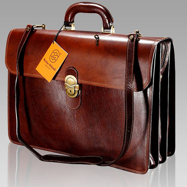 Marino Orlandi  Executive Cognac Leather Briefcase