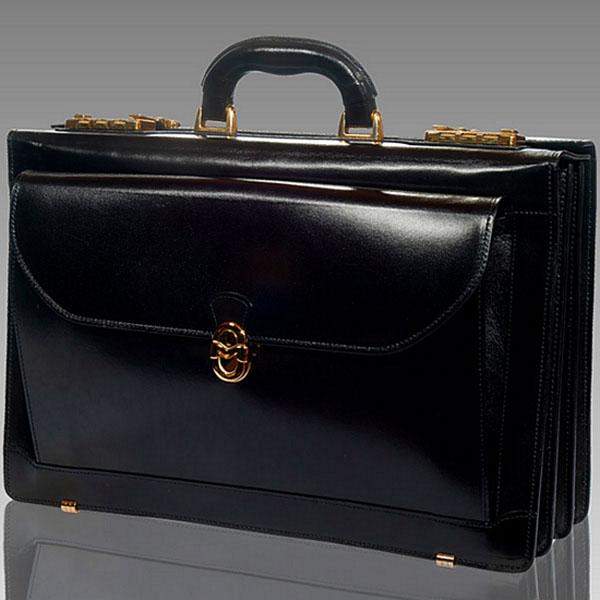 Marino Orlandi  Black Leather Presidential Briefcase Attache