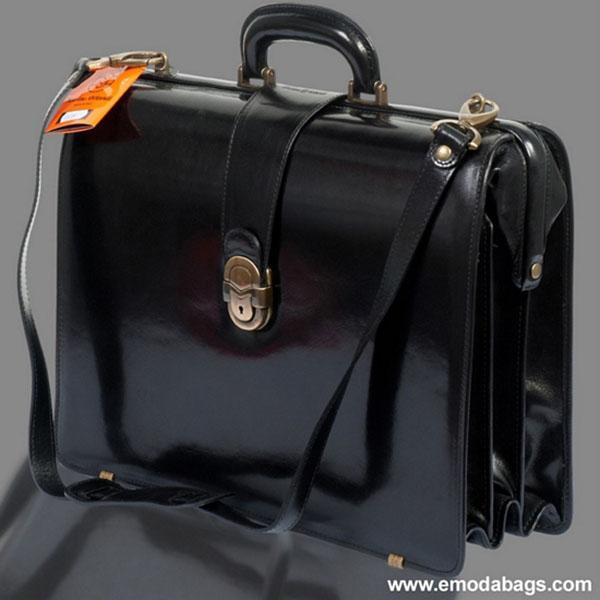 Marino Orlandi  Black Leather Briefcase Doctor Bag