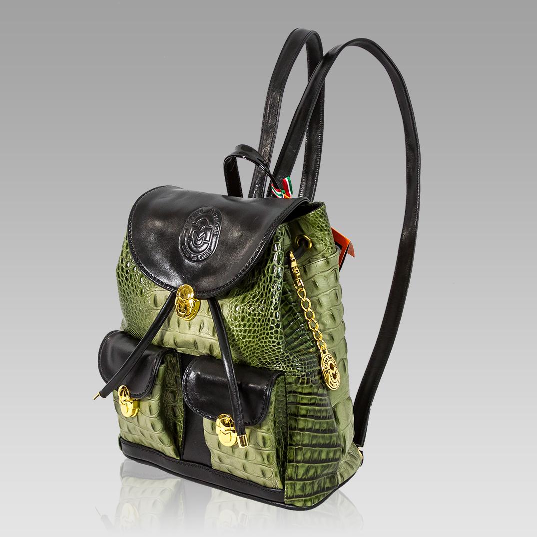 Marino Orlandi  Green Alligator Embossed Leather Backpack