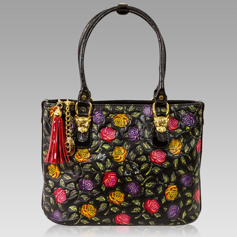 Marino Orlandi Designer Handpainted Red Roses Leather Large Tote Bag