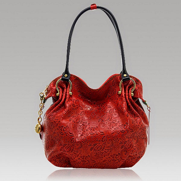 Marino Orlandi Designer Red Paisley Embossed Leather Slouchy Bag Purse