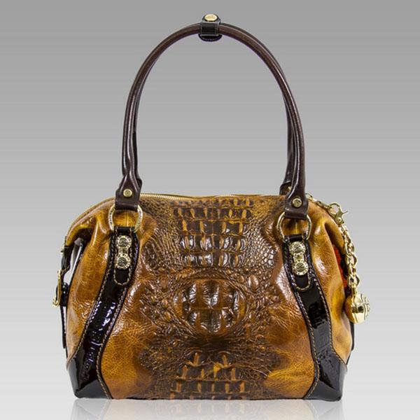 Marino Orlandi  Cognac Alligator Leather Purse Bag