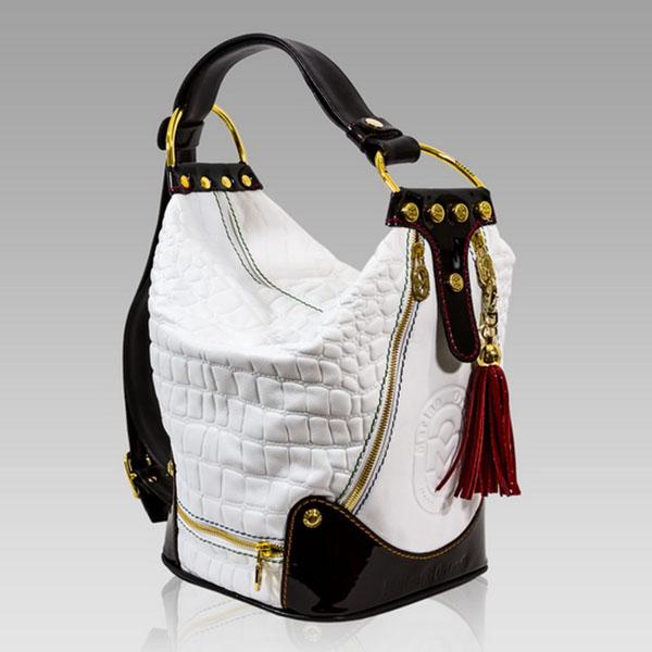 Marino Orlandi Large Handbag Bucket Purse Alebaster Croc Leather Bag