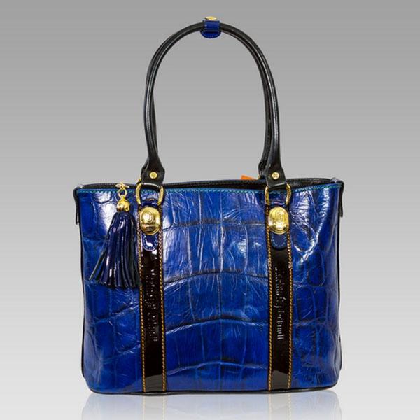 Marino Orlandi  Cobalt Blue Croc Leather Large Tote