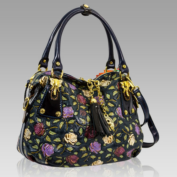 Marino Orlandi  Handpainted Purple Roses Leather Satchel Handbag