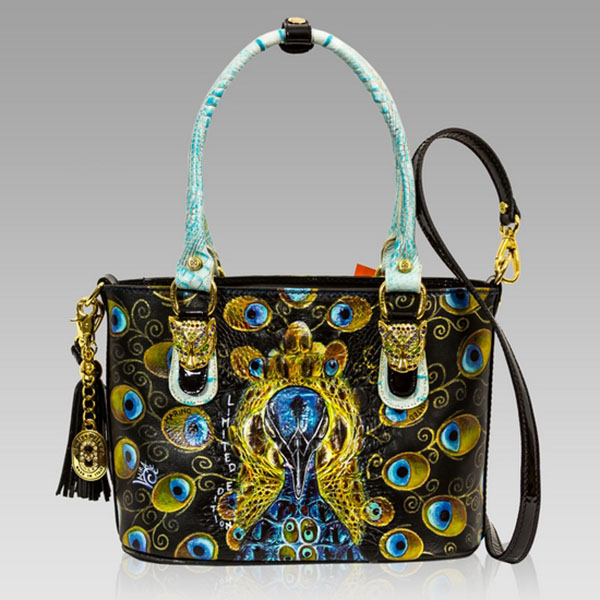 Marino Orlandi  Majestic Peacock Handpainted Leather Handbag