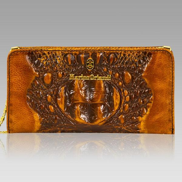 Marino Orlandi  Cognac Alligator Leather Oversized Wallet