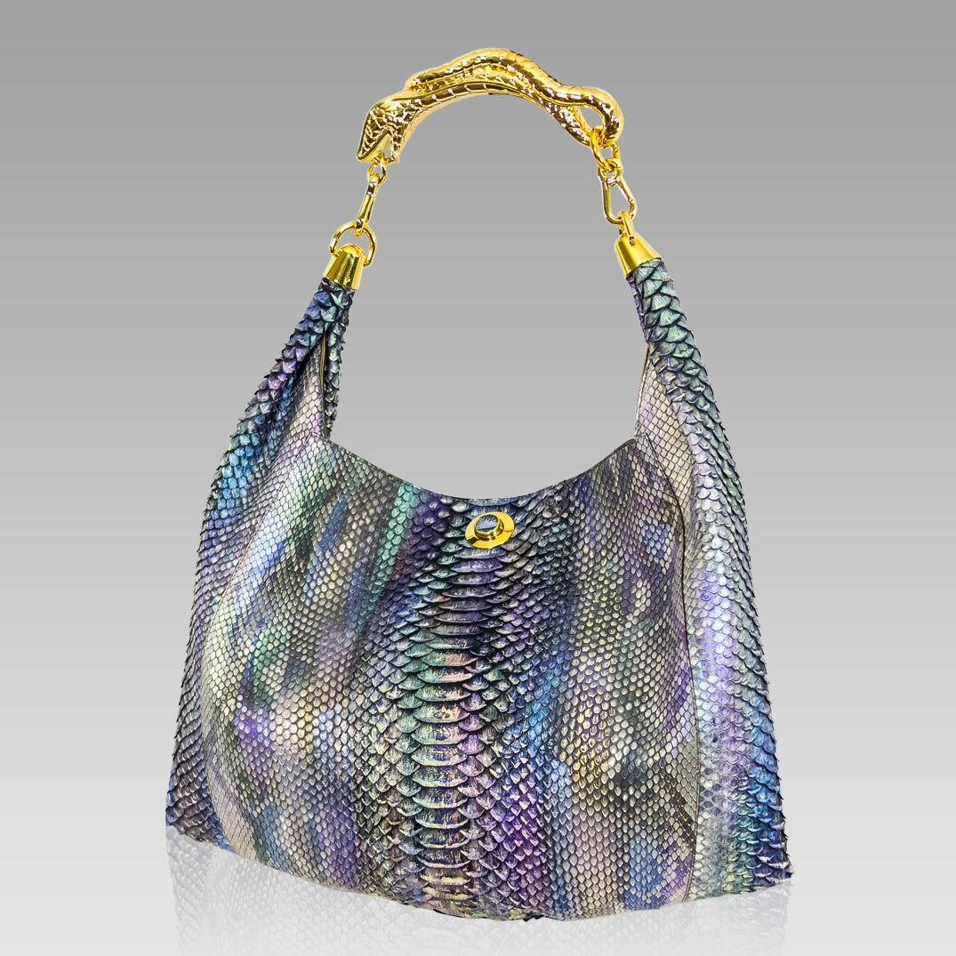 Silvano Biagini Designer Blue Tanzanite Python Leather Slouchy Handbag