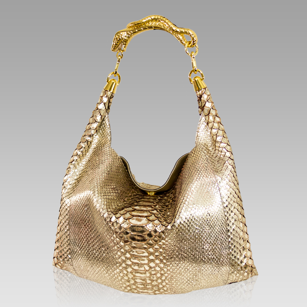 Silvano Biagini Metallic Platinum Python Leather Oversized Bag