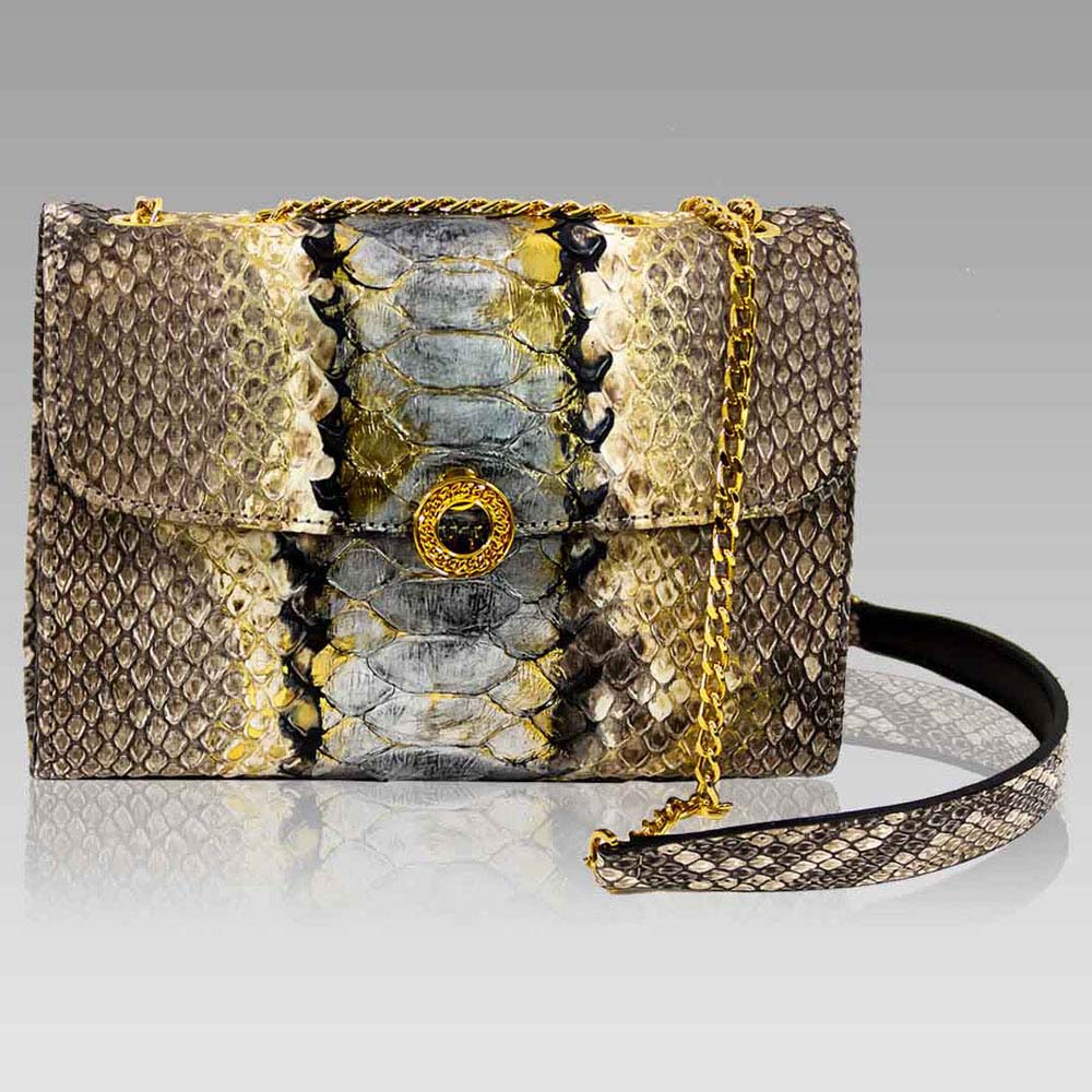 Silvano Biagini Handbag Purse Python Leather Clutch Bag In Antracite