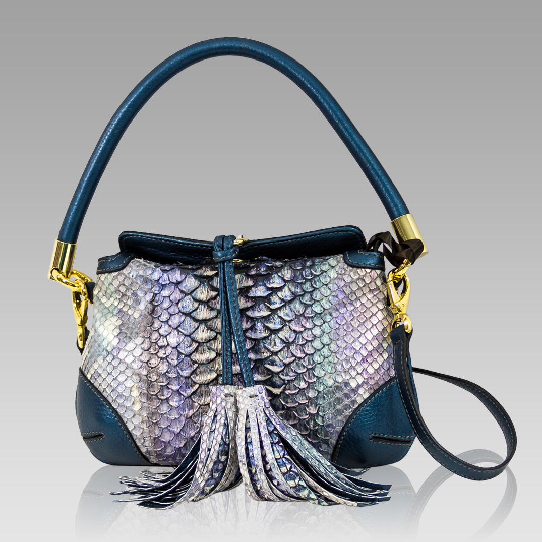 Silvano Biagini Metallic Blue Python Leather Fringe Crossbody Bag