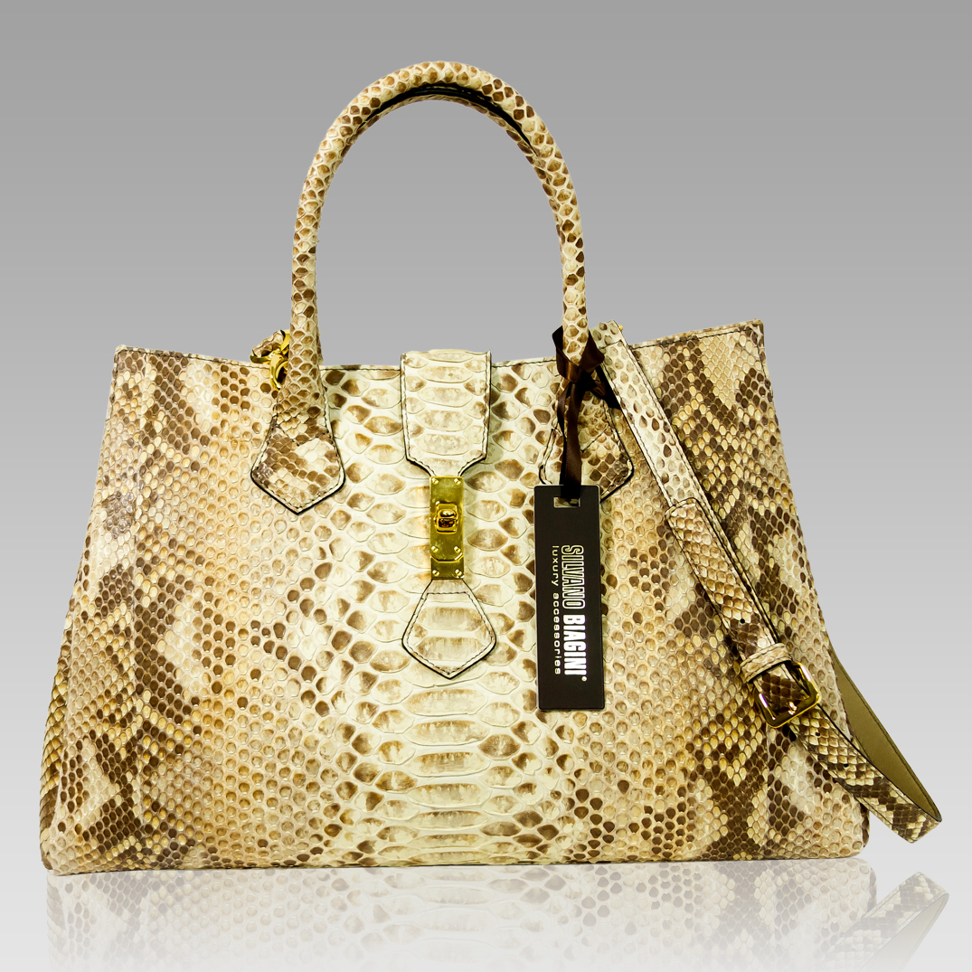 Silvano Biagini Citrine Python Leather Statement Large Crossbody Bag