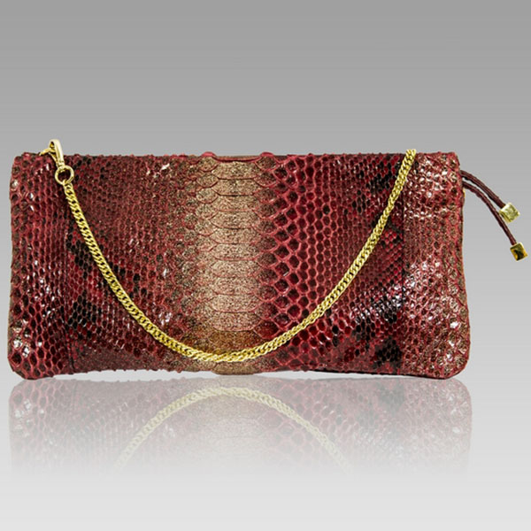 Ghibli  Cartier Red Python Leather Clutch Purse Bag