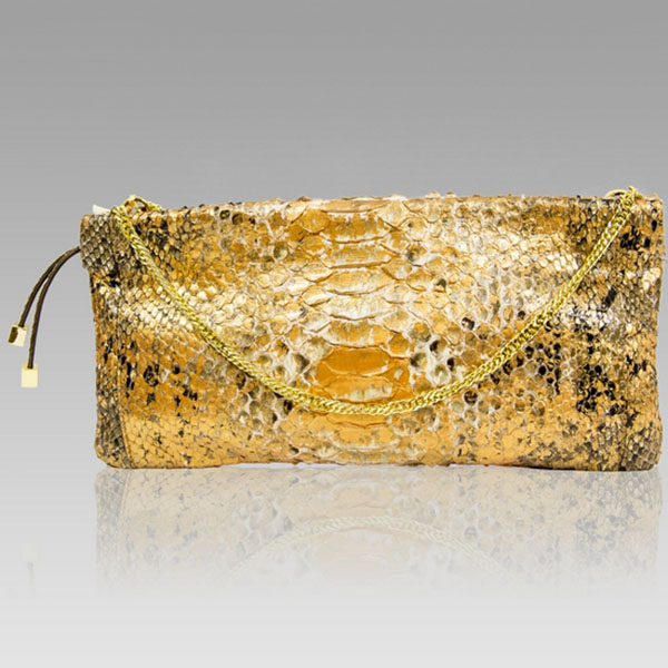 Ghibli  Gold Amber Python Leather Clutch Purse Bag