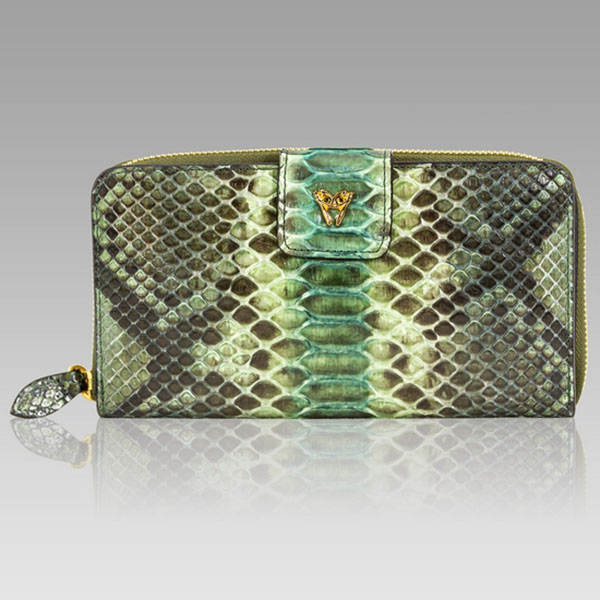 Ghibli  Jade Green Python Leather Large Wallet Clutch