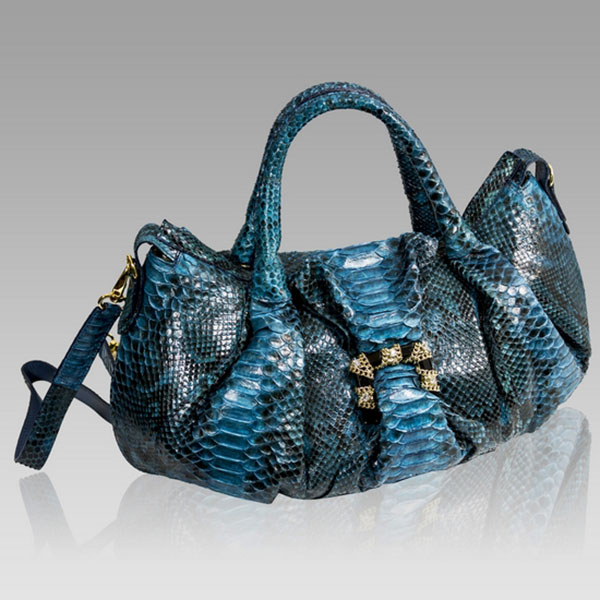 Ghibli  Aquamarine Blue Python Leather Jeweled Satchel