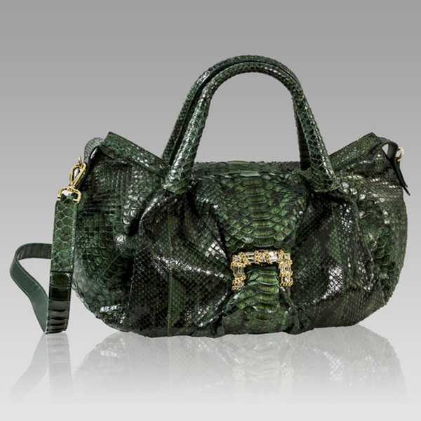 Ghibli  Emerald Green Python Leather Swarovski Bag