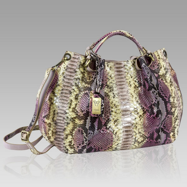 Ghibli  Tourmaline Pink Python Leather Large Purse Bag