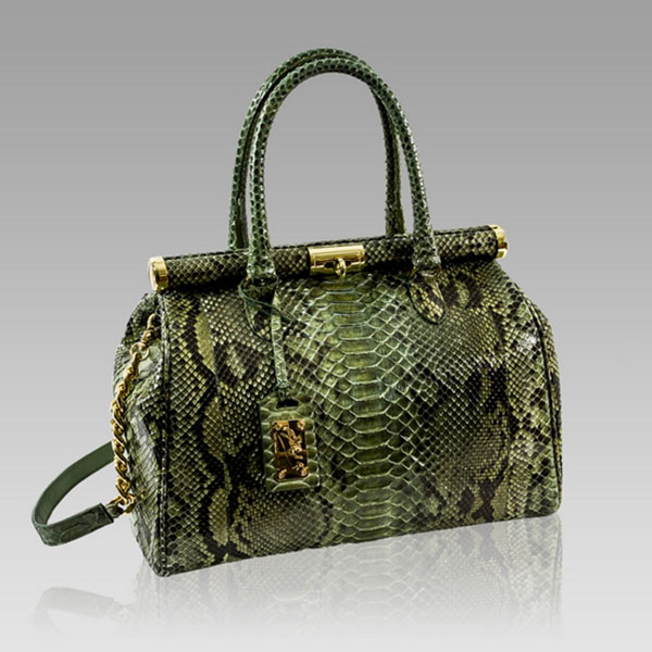 Ghibli  Green Python Leather Large Purse Frame Bag