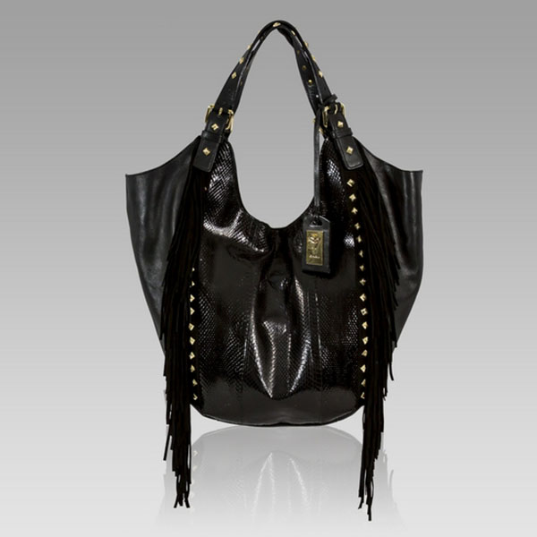 Ghibli  Black Snakeskin Leather Bag w/Fringe & Studs