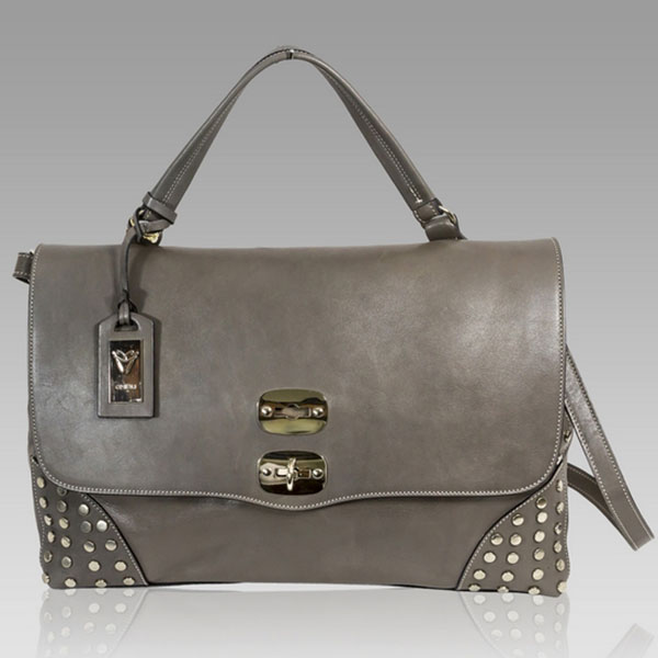 Ghibli  Grey Leather Large Top Handle Bag w/Studs