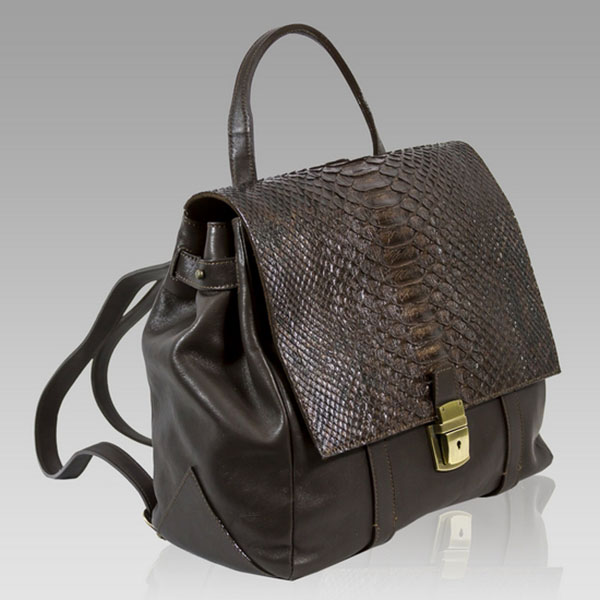 Ghibli  Brown Python Leather Backpack Crossbody Bag