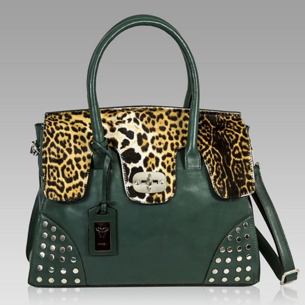 Ghibli  Green Leather & Haircalf Frame Bag w/Studs