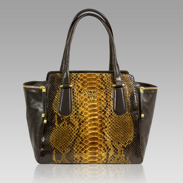 Ghibli  Topaz Python Brown Leather Large Tote Handbag
