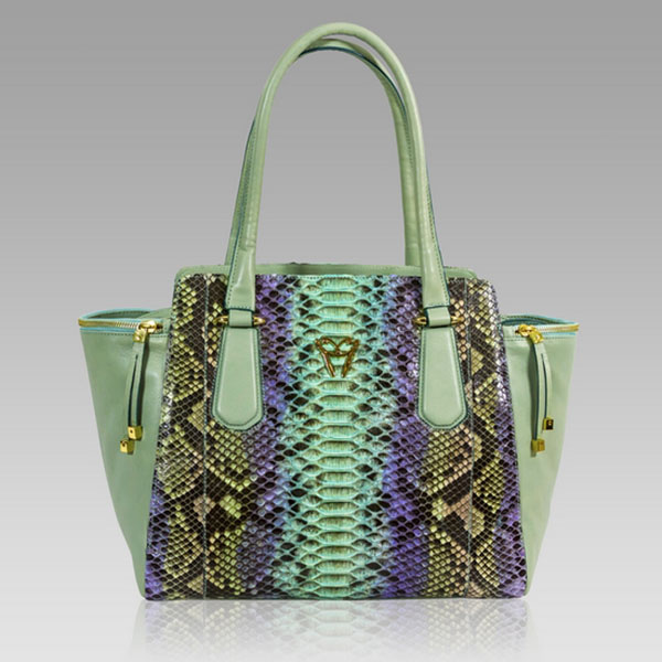 Ghibli  Turquoise Python Leather Large Flared Tote Bag