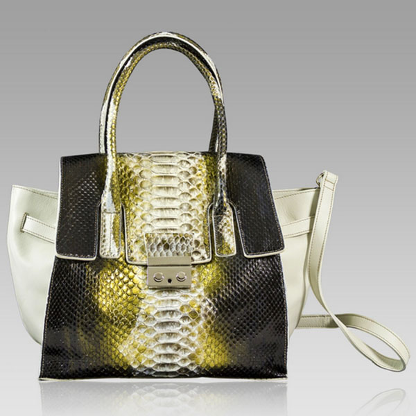 Ghibli  Golden Beryl Python Leather Large Tote