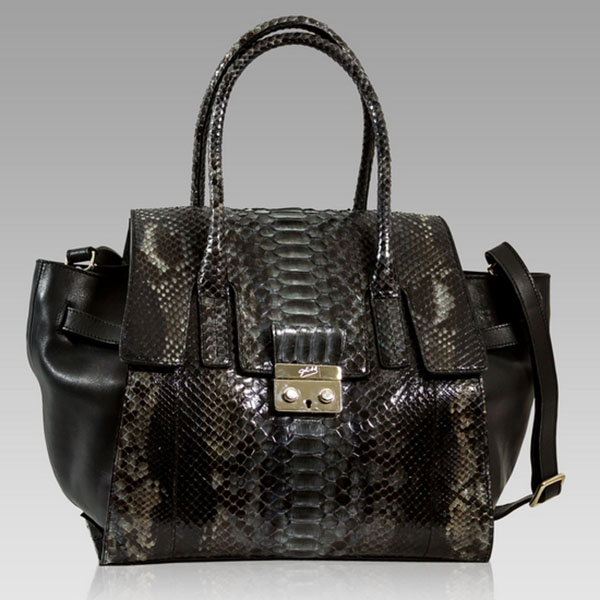 Ghibli  Onyx Black Python Leather Oversized Tote Bag