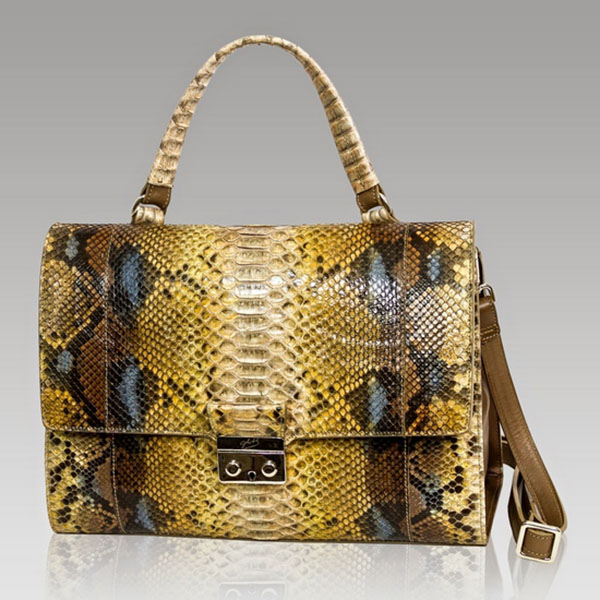 Ghibli  Topaz Brown Python Leather Top Handle Bag