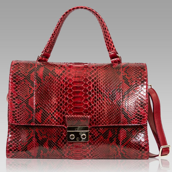 Ghibli  Cartier Red Python Leather Top Handle Purse