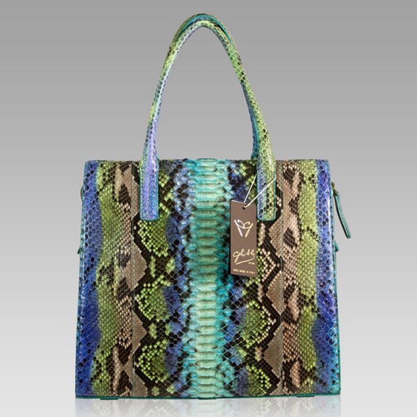 Ghibli  Turquoise Blue Python Leather Tall Tote Bag