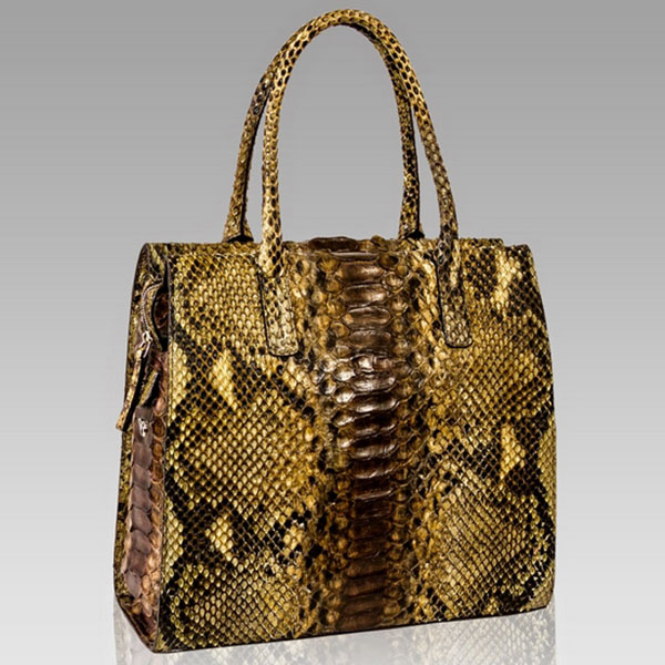 Ghibli  Topaz Brown Python Leather Tall Tote Purse Bag
