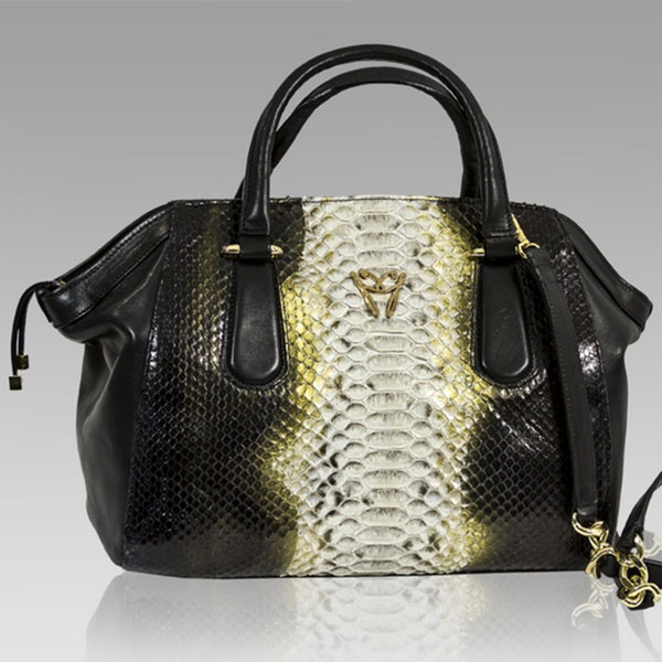 Ghibli  Golden Beryl Python Leather Large Satchel Bag