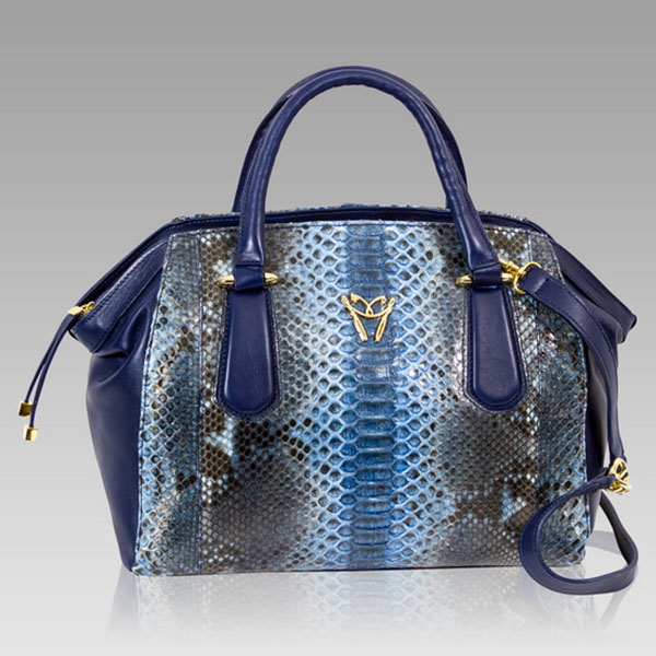Ghibli  Aquamarine Python Leather Large Satchel Bag