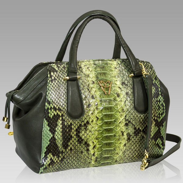 Ghibli  Jade Green Python Leather Large Satchel Bag