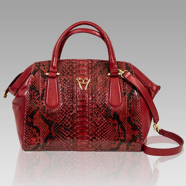 Ghibli  Cartier Red Python Leather Large Satchel Bag