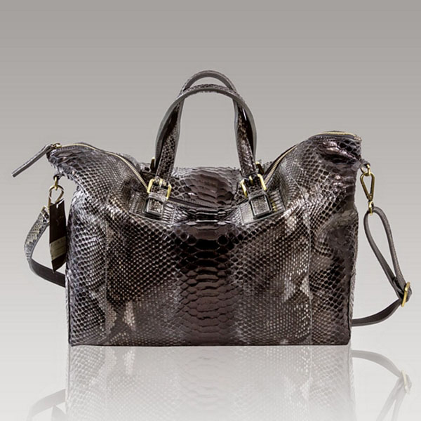 Ghibli  Onyx Black Python Leather Duffle Oversized Bag