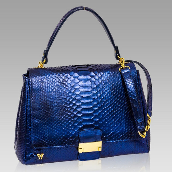 Ghibli  Sapphire Blue Python Leather Top Handle Bag