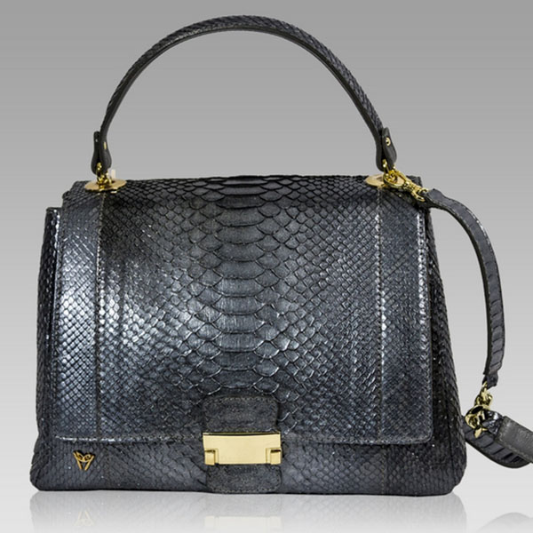Ghibli  Anthracite Grey Python Leather Top Handle Bag