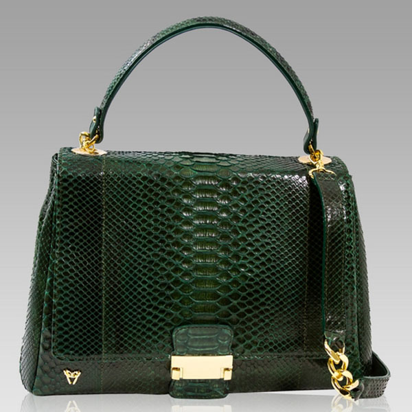 Ghibli  Emerald Green Python Leather Top Handle Bag